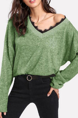 V Neck Lace Patchwork Long Sleeve Knitting Sweaters
