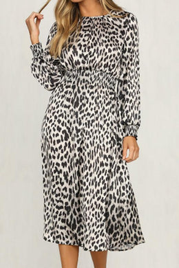 Round Neck  Leopard  Long Sleeve Maxi Dresses