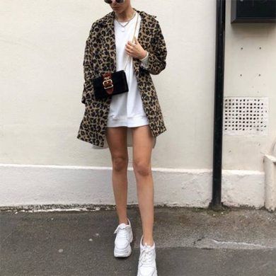 Winter And Autumn Long Leopard Print Plaid Fur Coat