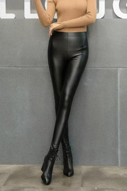 Stylish Thermal Plain Close-Fitting Leather Pants