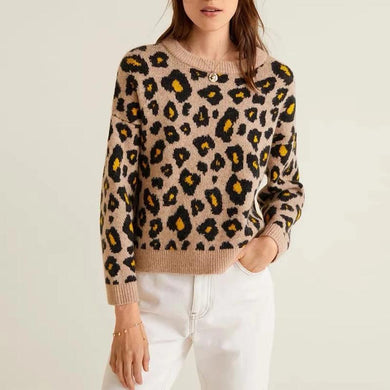 Round Neck Long Sleeve Leopard Printed Knitting Sweaters