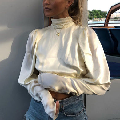 Sexy High Collar Plain Backless Blinding Shirt
