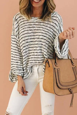 Knit Striped Turtleneck Top