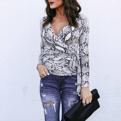 V Neck Long Sleeve Snake Printed Belt Fashion Blouses