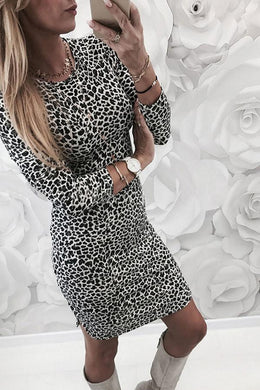 Round Neck  Leopard Printed  Long Sleeve Bodycon Dresses