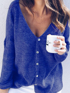 V-Neck  Single Breasted  Two Way  Plain  Long Sleeve Sweaters Pullover