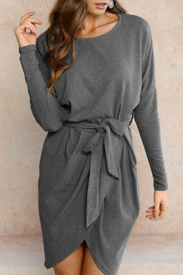 Round Neck  Asymmetric Hem  Belt  Plain  Long Sleeve Casual Dresses