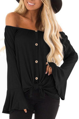 Off Shoulder  Single Breasted  Plain  Bell Sleeve T-Shirts