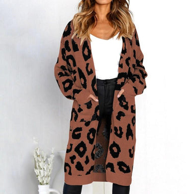 New Leopard Print Loose Cardigan Sweater