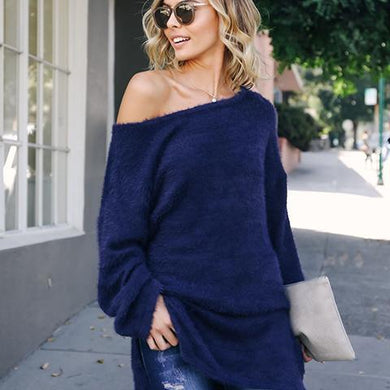 Sexy One Shoulder Plain Soft Knit Sweater