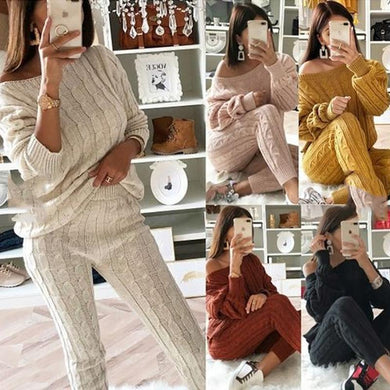 Plain 2 Piece Set Casual Knitted Tracksuit Sweater Long Pants Plain 2 Piece Sets