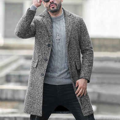 Single-Breasted Lapel Woolen Coat