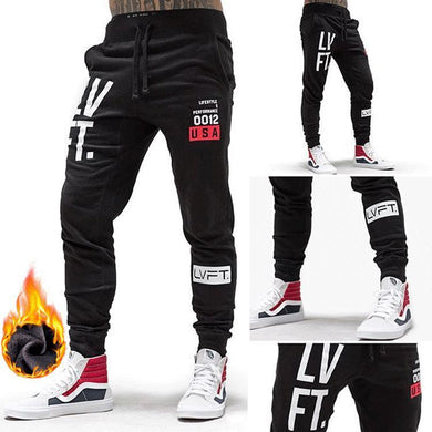 Men's Plus Velvet Padded Sweatpants Loose Feet Close Guard Pants