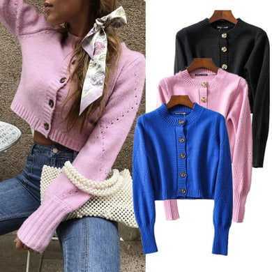 Short Cutout Sweater Girl Pink Knit Cardigan