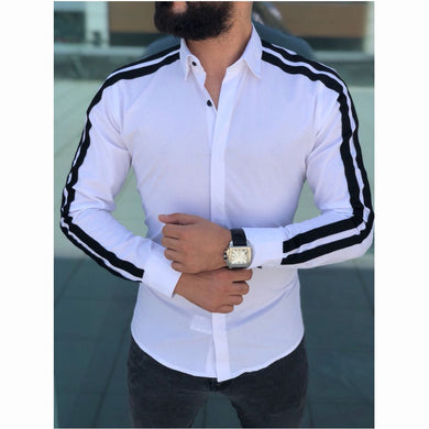 Features Shirts New Arrival Casual Slim Fit Male Shirt