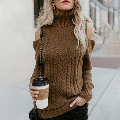 High Collar Off-The-Shoulder Sweater