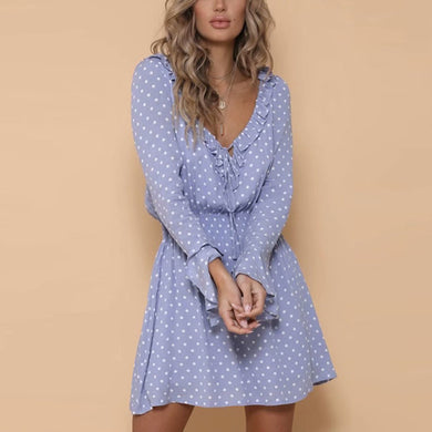Female Ruffled Side With Trumpet Sleeve Mini Dress