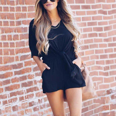 Sexy Bandage Short Sleeves Plain Rompers