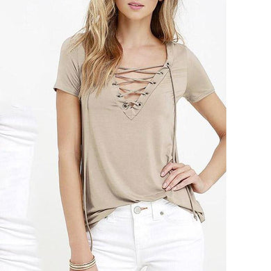 V Neck Lace Up Plain T-Shirt