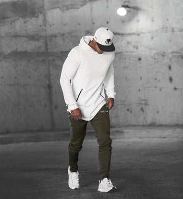 Sports Fitness Hooded Men's Long Sleeve Sweater Pullover