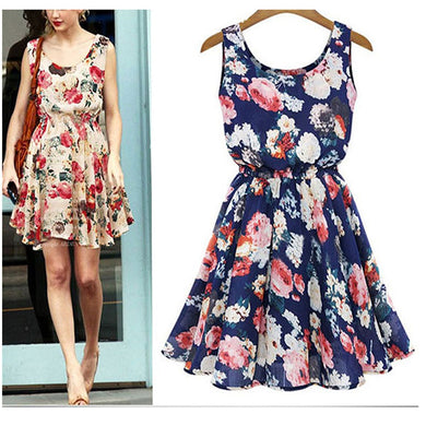 Female Slim Sleeveless Chiffon Mini Dress