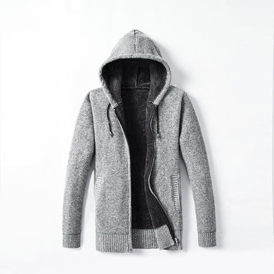 Men's New Hooded Cardigan With Fleece And Thick Sweater Coat