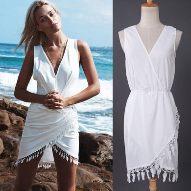 Women V-Neck Lace Sleeveless Mini Dress