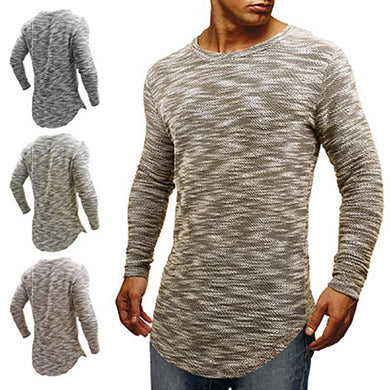 Men's Round Neck  Slim Cotton Long-Sleeved T-Shirt