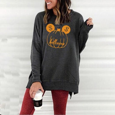 Halloween Round Neck  Loose Fitting  Floral   Sweatshirts