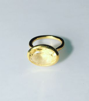 Citrine Ring Gold Oval