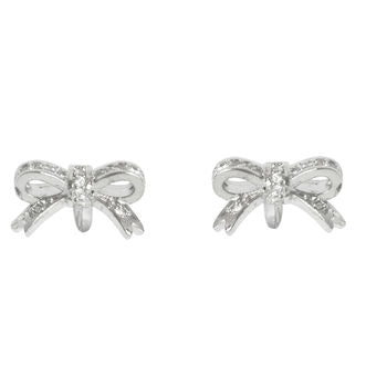 Bow Tie Earrings Diamante Silver Earrings