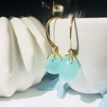 Aqua Chalcedony Gold Earrings Claw Drop
