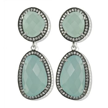 Aqua Diamante Gemstone Drop Earrings