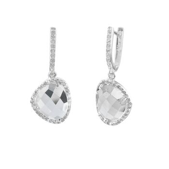 White Topaz Gemstone Earrings Diamante Drop Earrings