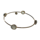 Aqua Gemstone Round Gold Bangle