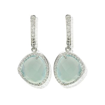 Aqua Gemstone Silver Drop Earrings Diamante