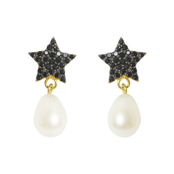 Black Star Pearl Earrings