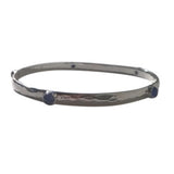Blue Lapiz Solid Silver Bangle