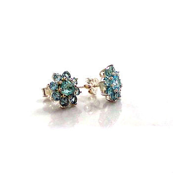 Blue Topaz Flower Silver Earrings