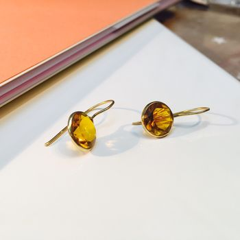 Citrine Gemstone Gold Earrings Gift For Her
