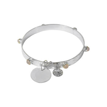 Rose Quartz Gemstone Solid Silver Bangle