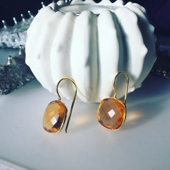 Citrine Earrings Gemstone Drop Earrings Gifts For Her