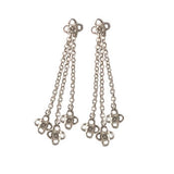 Crystal Flower Silver Drop Earrings