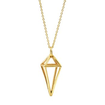 Geometric Gold Pendant Gold Necklace