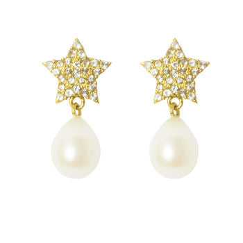 Pearl Earrings Gold Star Gifts For Her