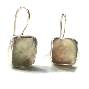 Green Amethyst Earrings Square Drop