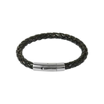 Mens Brown Leather Bracelet With Silver Clasp