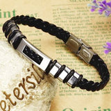 Mens Leather Bracelet Rectangular Style