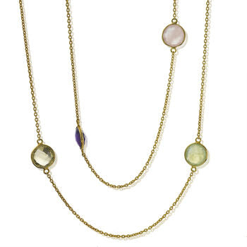 Multistone Gemstone Necklace Long Circular