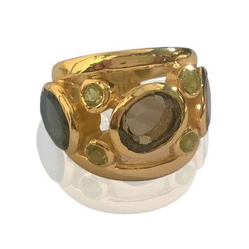 Multistone Cocktail Gold Ring Baroque